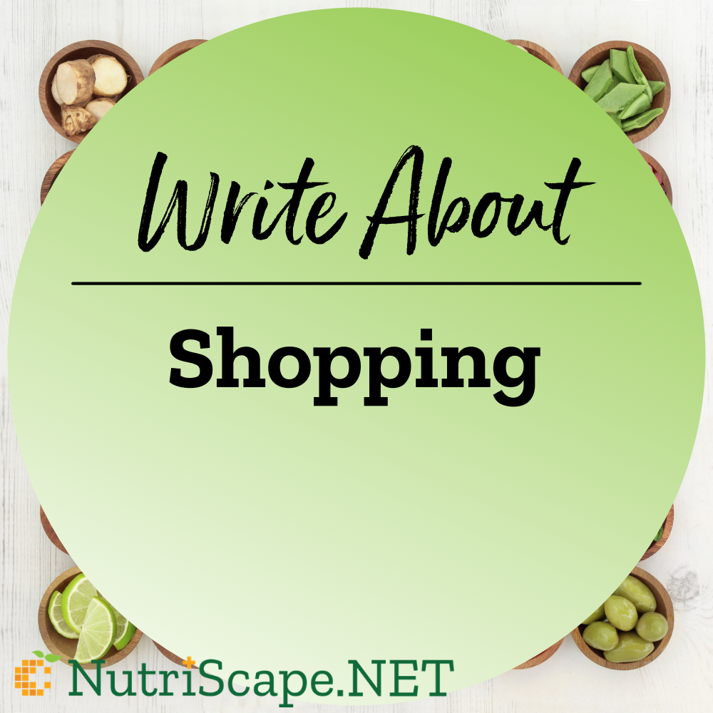 write about shopping